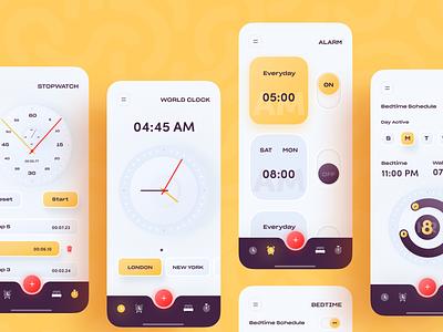 iOS Alarm Clock App colour color trendy 2020 trend clock app user experience userinterface ux ui clean minimal popular app clock alarm clock alarm