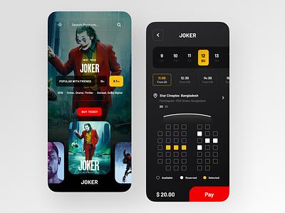 Movie Ticket App clean ui minimal trendy joker ticket movie app