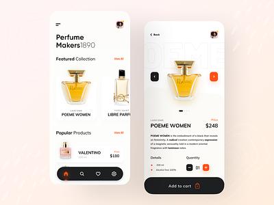 Perfume Product App. color trendy uiux app design uidesign minimal trend design ux ui