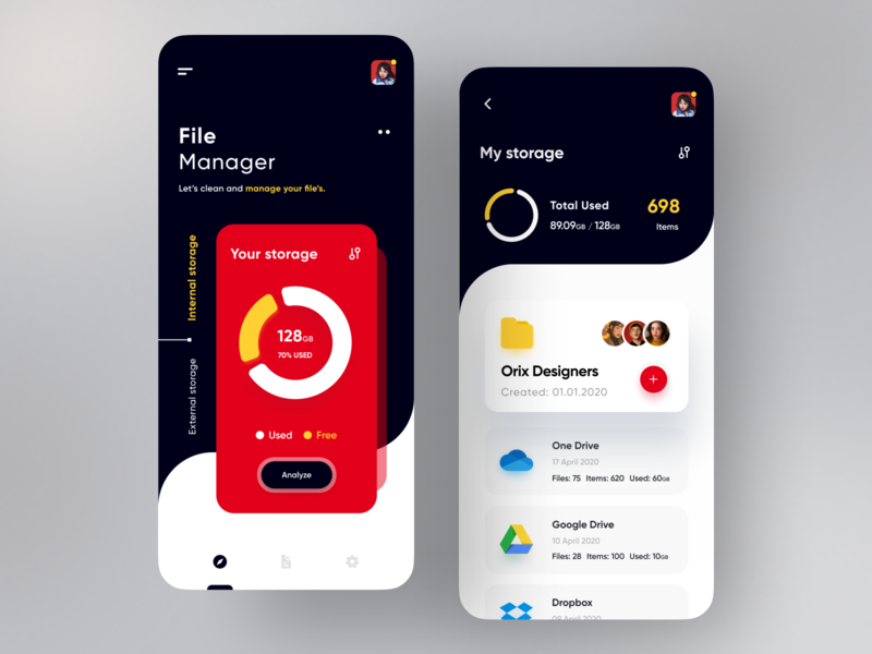 File Manager App ui minimal appdesign popular trending trend dark ui red figma app file sharing file manager