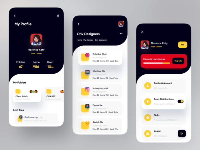File Manager App quality red management app project dribbble popular trending trendy trend simple minimal dark theme dark ui app design files file upload file explorer file sharing file management file manager