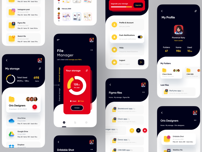 File Manager App red popular dribbble best shot dribbble file sharing file manager photoshop illustration illustrator