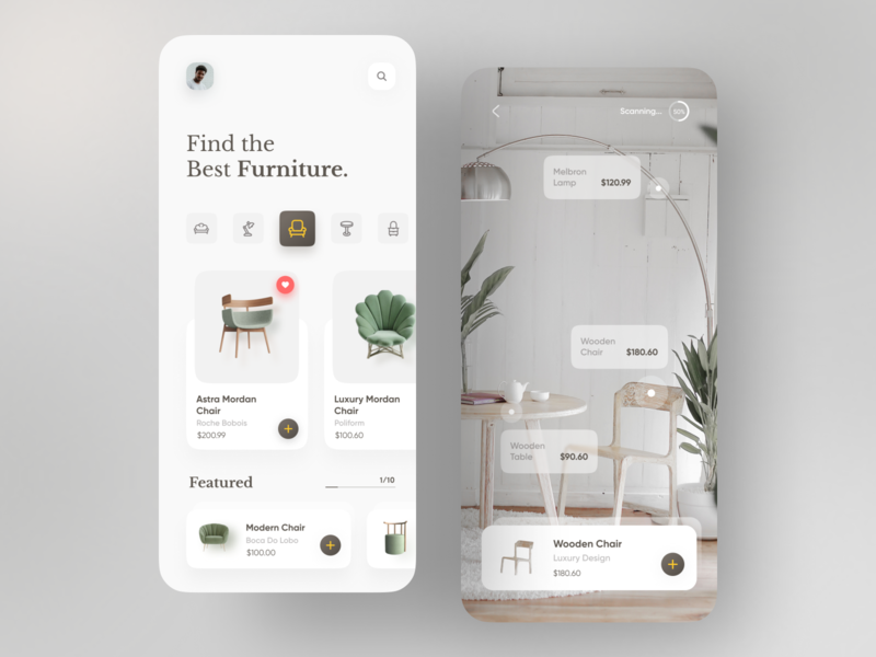 Furniture Product App top appdesign appui illustration trendy trend minimal dribbble popular ar vr chair app furniture