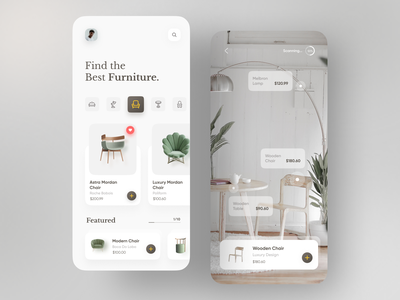 Furniture Product App top appdesign appui illustration trendy trend minimal dribbble popular ar vr chair app furniture