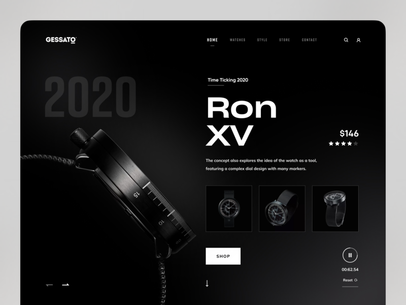 Ron XV Watch 2020 trend trendy trending popular design popular shot dribbble dribbble best shot black and white dark theme dark mode dark ui website design webdesign ecommerce shop watch