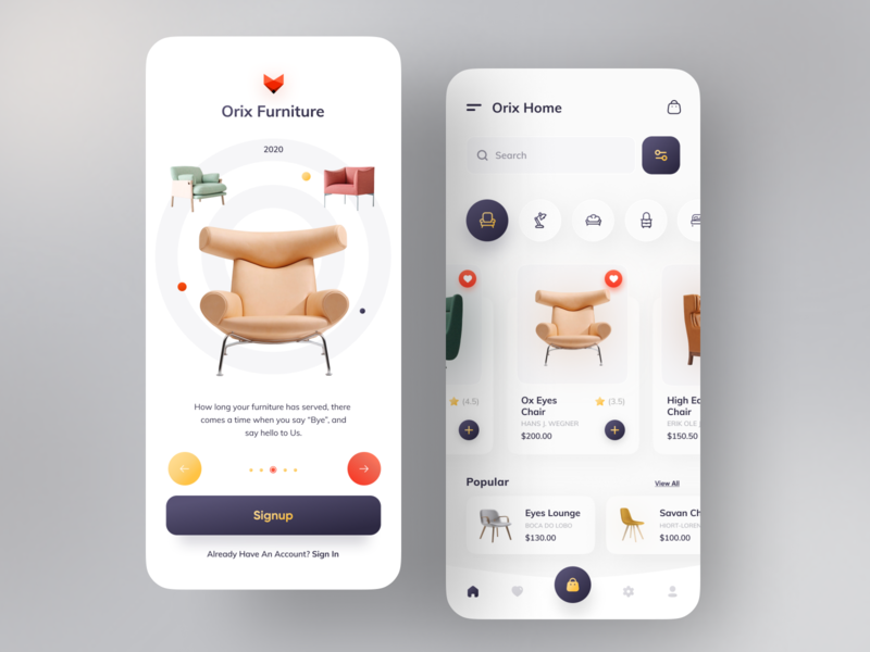 Orix Furniture App colorful minimal user interface design popular popular design popup design popular shot dribbble dribbbleweeklywarmup dribbble best shot chair sofa ecommerce ecommerce design ecommerce shop ecommerce app furniture furniture design furniture store furniture app