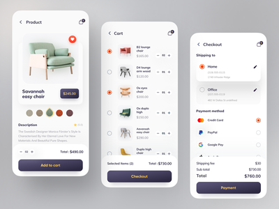 Orix Furniture App popular design popular dribbbleweeklywarmup dribbble best shot minimal clean product checkout page checkout cart ecommerce design ecommerce app ecommerce furniture design furniture store furniture app furniture sofa chair design chair