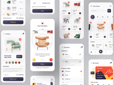 Orix Furniture App animation app ui clean design minimal app project colorful wireframes wireframe project app design best shot popular design popular shot popular dribbble best shot dribbble furniture design furniture store furniture app furniture