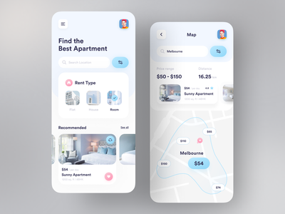 Orix Rent Apartment colourful dribbble best shot popular design popular top minimal apartment rental app rent