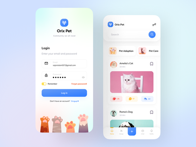 Orix Pet Community orixweb orixapp orixpet orix sajon simple gradient clean dribbble home login dog cat popular shot popular dribbble best shot community app minimal petapp pet