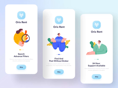 Orix Rent App Onboarding Animation ui app interaction app onboarding real estate realestate illustration animate animation micro interaction microinteraction onboarding screens onboard onboarding screen onboarding ui onboarding home rent renting rental app rental rent