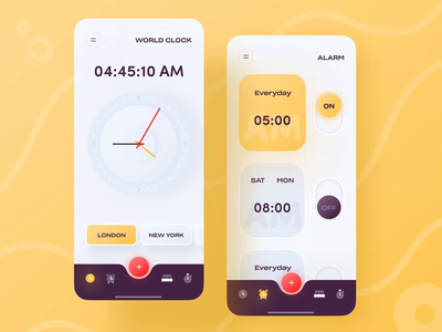 Micro-interaction iOS Alarm Clock App animation interaction microinteraction time clock alarm app alarm trending popular dribbble best shot trendy app design design trend ux ui minimal