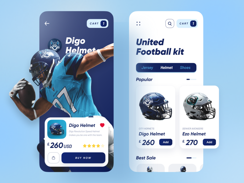 United Football Kit App helmet application dribbble best shot uidesign trendy popular trend ux ui minimal sports design sport football