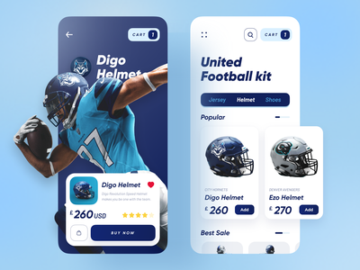 United Football Kit App helmet application dribbble best shot uidesign trendy popular trend ux ui minimal sports design sport football