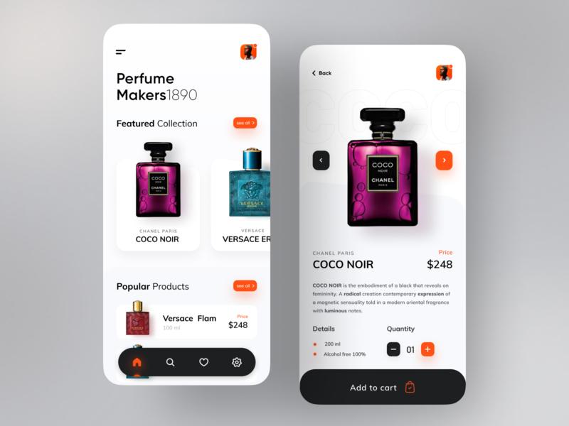 Perfume Product App. trending perfume mobile app mobile trendy app design dribbble best shot design trend ux ui minimal