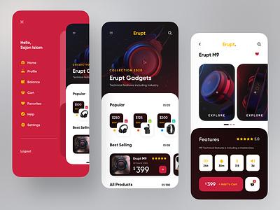 Headphone Gadget App top popular trendy app design design trend ux ui minimal