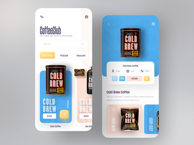 Coffee Club App best dribbble shot popular uiux uidesign app design trendy coffeeshop product colorful minimal mobile app design mobile app mobile ui app mobile coffee shop coffee
