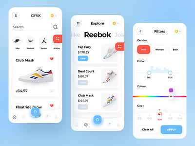 Shoes App design ux ui filter color minimal app design application app mobile ios nike shoes shoes store shoes app shoes reebok nike snickers shoe