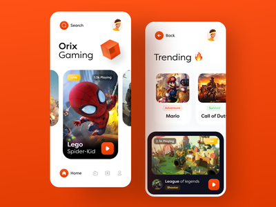 Gaming App colorful applicaiton mobile app mobile gaming app game application trending dribbble best shot trendy design app design trend ux ui minimal