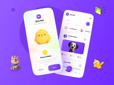 Pet Community App trending trendy design popular uxui uiux 3d app 3d bird animal cat dog pet mobile app design mobile design mobile app mobile ui mobile application app design app