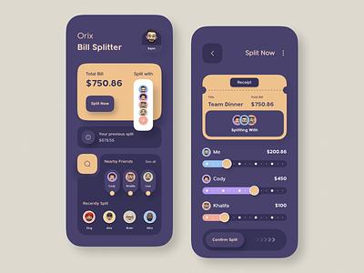 Bill Splitter App mobile app ui design minimal mobile ux ui design mobile apps mobile ui mobileapp mobileappdesign app interface uiux ux ui