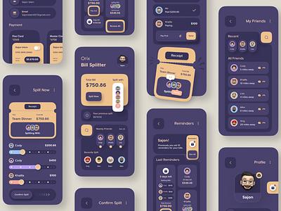 Bill Splitter App mobile app design uiux uxui ux ui billsplit bill app mobileappdesign mobileapp mobile ui mobile apps ux ui design mobile minimal ui design mobile app