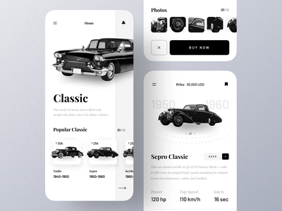 Classic Cars App mobile app ui design minimal mobile ux ui design mobile apps mobile ui mobileapp mobileappdesign app interface uiux ux ui