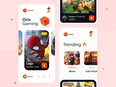 Gaming App orix sajon gameapp gaming game interface application mobileappdesign trending design mobileapp mobile ui interface design mobile apps app design mobile application mobile app design mobile app