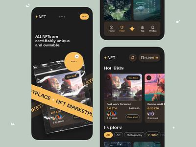 NFT Marketplace App orix sajon popular app design app mobile app design mobile design mobile app mobile ui mobile web designer app designer nftproduct nftshop nft product nft app nftart nfts nft