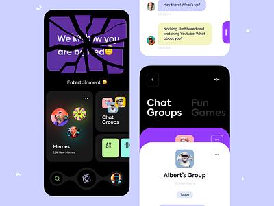 The Boring App chat popular app orix dark design dark app app idea app project sajon boringapp branding design minimal ux uiux ui application mobileapp iosapp app design app