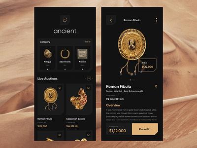 Ancient Auction App bid auction ancient agency orix sajon interface ux uiux ui app mobile mobile ui mobile app minimal mobileappdesign mobileapp mobile apps ux ui design ui design