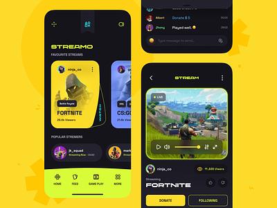 streamo game game app game sajon orix uiux minimal ui mobileappdesign app mobileapp mobile mobile apps interface mobile ui ux ui design ux mobile app ui design