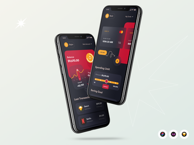 Mobile Wallet App orix kit sajon ios red darkapp dark banking wallet mobile branding illustration design uiux app design app ui minimal ux