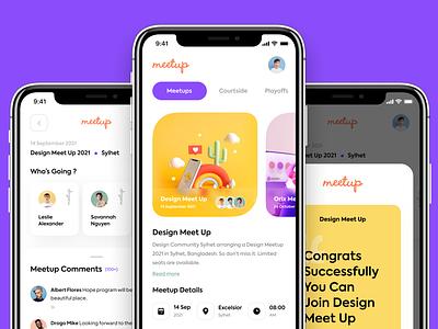 Meetup App Design sajon orix visual designer ui designer designers meetup mobile design ux ui design ui design mobileui uiux ui ux app mobile mobile ui minimal