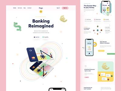 Pago Banking Website bank agency orix sajon card branding financial banking landing landing page web landing web site web