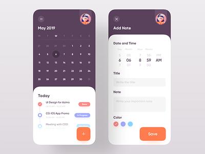 Daily Task Schedule App trend appdesign uidesign uxdesign minimal color 2019 trend design uiux ui app schedule