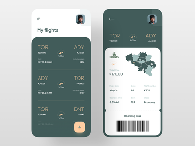 Boarding Pass App design flight app flight ticket booking ticket app barcode green uxdesign uidesign ux ui ticket map plane boarding pass