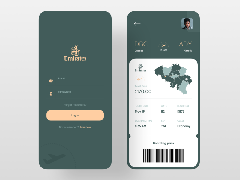 Boarding Pass App 2019 trend trendy trend color green uxdesign uidesign ux ui airplane plane map barcode login screen login form login ticket app design boarding pass airline