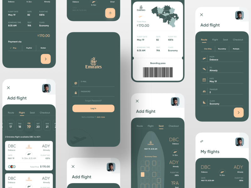 Boarding Pass App trending trendy ios app app design uidesign uiux ux ui green map seat date login boarding pass ticket booking aircraft airplane airline airport plane