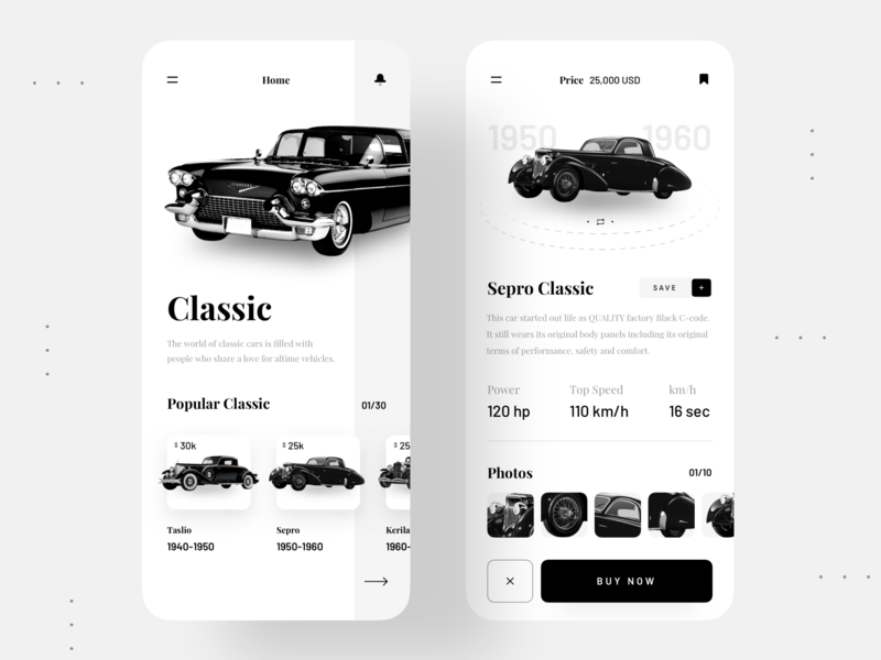 Classic Cars App tranding trendy trend uidesigner uidesign ux ui mobile app design mobile app mobile ui product application app design app black blackandwhite black and white old car classic car cars