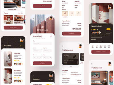 Hotel Booking App designs designer uiux design payment hotel booking hotel app trending ui design dark ui application color 2019 trend trend trendy uiux uidesign app design design ux ui