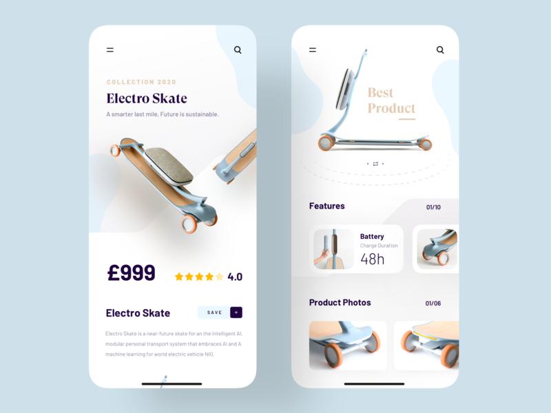 Electro Skate App ios userinterface skate trending ecommerce app product ui design application color app 2019 trend trend minimal trendy uiux uidesign app design design ui ux