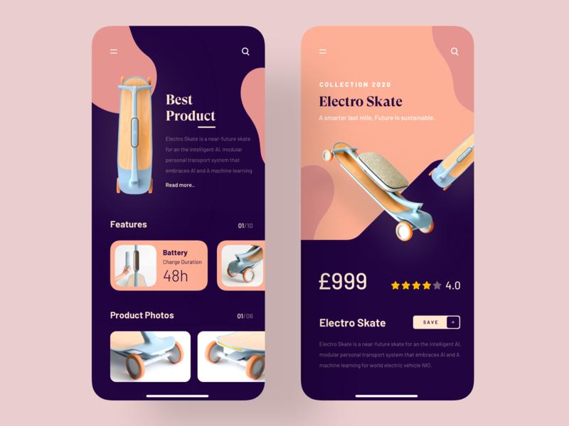 Electro Skate App luova studio colors skate product trending dark ui ui design application color app 2019 trend trend minimal trendy uiux uidesign app design design ui ux