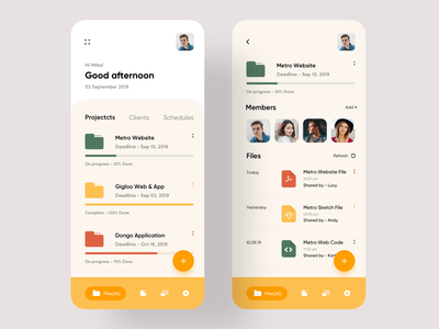 Project Management App webdesign uxdesign uidesigner uiuxdesigner colour colors team work file sharing file upload project management 2019 trend trend minimal trendy uiux uidesign app design design ui ux