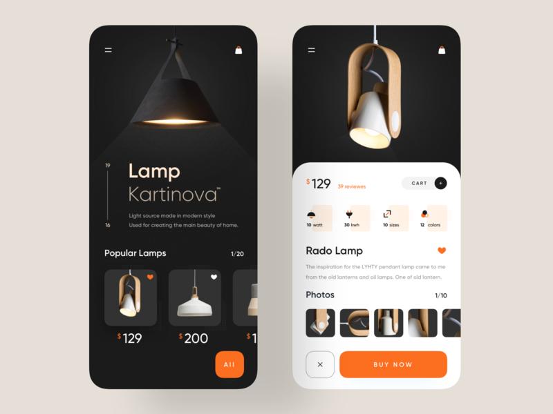 Lamp Product App sajon luova studio clean design lamp light popular uxdesigner uidesigner application app 2019 trend minimal trend trendy uiux app design uidesign design ui ux