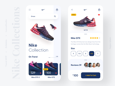 Nike Collection App clean design popular sajon productdesigner uxdesigner uidesigner product design shoes nike application 2019 trend minimal trend trendy uiux app design uidesign design ui ux
