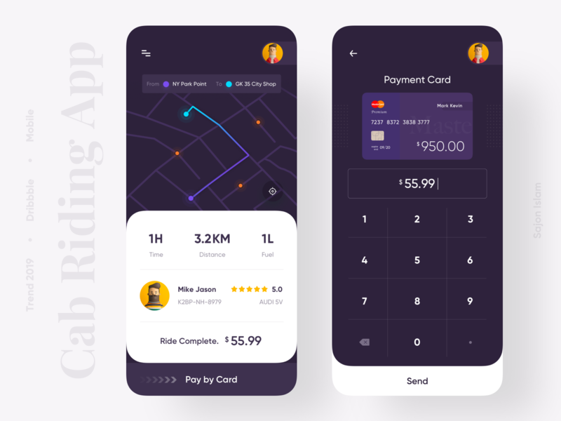 Cab Riding App popular productdesigner uxdesigner uidesigner application sajon dark ui map payment app uber riding cab clean ui 2019 trend minimal trend uiux app design uidesign design