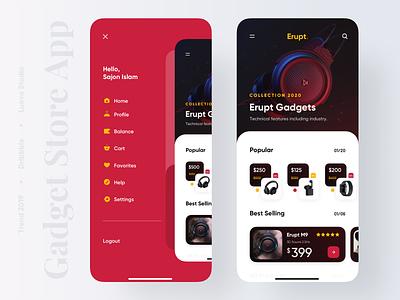 Gadget Store App headphone colours dark ui productdesigner uidesigner uxdesigner product gadget application popular 2019 trend minimal trendy trend uiux app design uidesign ui design ux