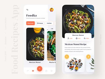 Food Recipes App android ios top interface 2020 trend 2019 trending productdesigner popular designer foodapp food recipe product application design ux ui clean app