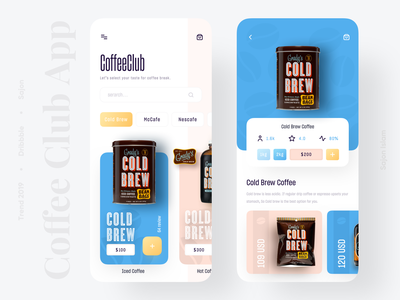 Coffee Club App cart uxdesigner uidesigner product colors coffeeshop coffee popular application app 2019 trend trendy minimal trend uiux app design uidesign ui design ux
